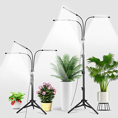 Grow Light with Stand,Juhefa 5500K Full Spectrum Tri-Head 60W Floor Plant Lights with White & Red Bulbs for Indoor Plants,5 Levels Dimmable,Timing 4/8/12H,Tripod Adjustable 15-47Inch