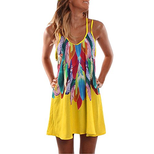 POTO Women's Summer Dress Plus Size, Fashion Halter Strap Printed Casual Tank Dress Maxi Beach Sundress (3XL, Yellow)