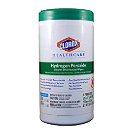 """Clorox 30824SPG Saalfeld 30824 Healthcare Hydrogen Peroxide Cleaner Disinfectant Wipes, 6.75"""" x 9"""", XL Wipe, 4.2"""" H, 4.2"""" W, 8.4"""" L, Cleaner (Pack of 570) 7 <p>Pre-moistened for immediate use Hydrogen peroxide technology kills 99. 9% of bacteria and viruses Versatile design allows safe use on vinyl, plastic, glass and more Specifically for industrial and institutional use</p>"""