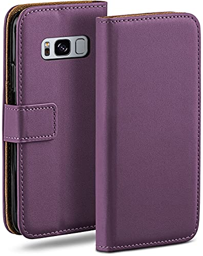 moex Klapphülle kompatibel mit Samsung Galaxy S8 Hülle klappbar, Handyhülle mit Kartenfach, 360 Grad Flip Hülle, Vegan Leder Handytasche, Lila