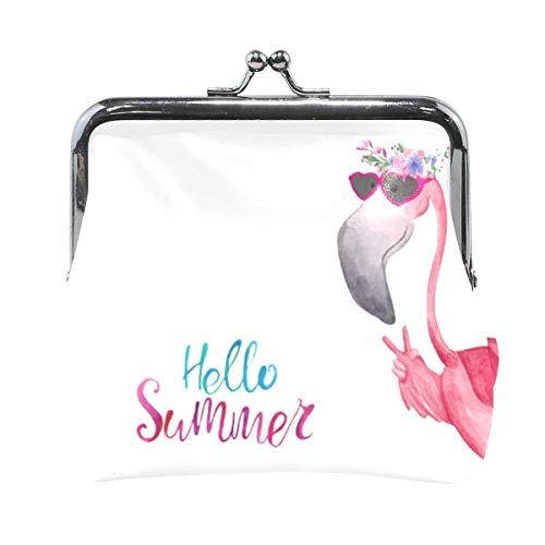 Monedero Hello Summer Divertido Flamingo Gafas de Sol Monedero Monedero con Hebilla Kiss-Lock Lindo Monedero Retro Titular de Cambio