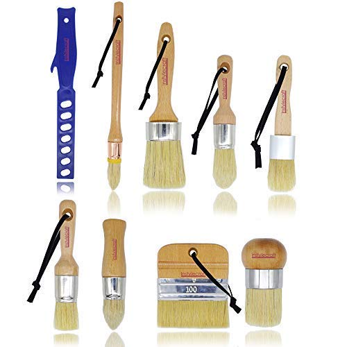 9 PC Premium Chalk Paint and Wax Brush Set , Natural Boar Bristles , DIY Painting and Waxing Tool Set | Indoor Outdoor Home Décor | Milk Paint| Waxing Furniture| for Professional & Beginners