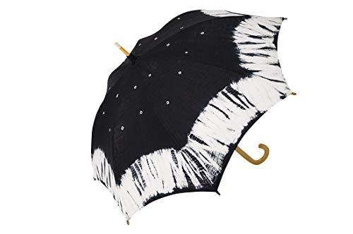 日傘 有松絞り 伝統工芸 手絞り ロング 日本製 ok-1518 (黒-A)