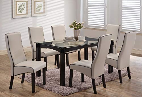 Kings Brand Furniture - Rectangle 7 Piece Kitchen Dining Set, Glass Top Table & 6 Chairs, Grey