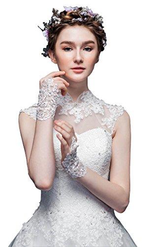 ShineGown Kurze Braut Handschuhe Blumen Spitze Haken Fingerlose Hochzeitszubehör für Damen