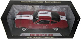 1966 Ford Shelby Mustang GT350 Red with White Stripes With Printed Carroll Shelby Signature On The Roof 1/18 by Shelby Collectibles SC154-1