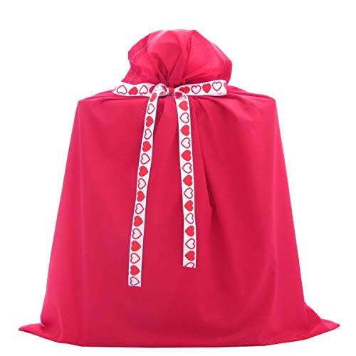 Red Reusable Fabric Gift Bag - Jumbo 27 Inches Wide by 33 Inches High - with 3 Ribbons for Valentine's Day, Christmas, or Any Occasion