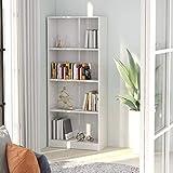 Benkeg Estantería 4 Niveles Aglomerado Color Blanco con Brillo 60x24x142 cm,...