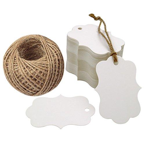 100PCS Blank Gift Tags, 2.75''x 1.97'' Kraft Blank Hang Tags with 100 Feet Jute Twine