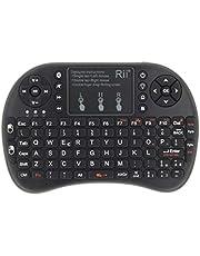 Rii Mini i8+ - Mini teclado inalámbrico (disposición de teclas italiana), retroiluminado, con panel táctil para smart TV, mini PC, HTPC, consola y ordenador. i8+ Bluetooth (NERO)