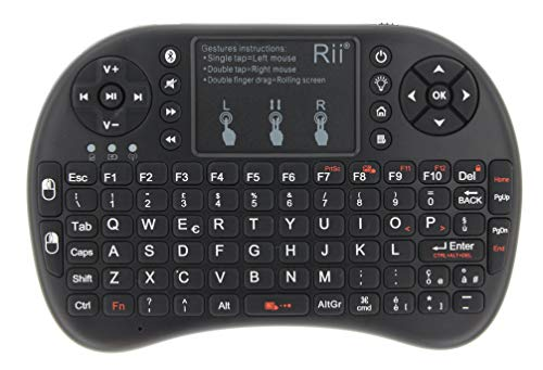 Rii Mini i8+ Bluetooth + Wireless (layout ITALIANO) - Mini Tastiera retroilluminata con touchpad, USB Wireless + Bluetooth, compatibile con Smart TV, TV Box, Tablet, Smartphone, Console, PC, Fire TV, Raspberry