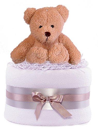 Tarta de pañales con osito de peluche para regalo de bebé, unisex