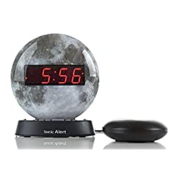 Sonic Alert Moon Alarm Clock Nightlight   Soft Ambient Light for Children in The Dark   Recordable Alarm w/ Vibrating Alarm Clock for Heavy Sleepers, Battery Backup   AUX Connection