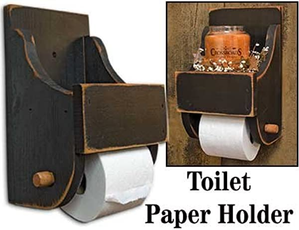 Primitrive Wood Wood Toilet Paper Holder With Shelf On Top