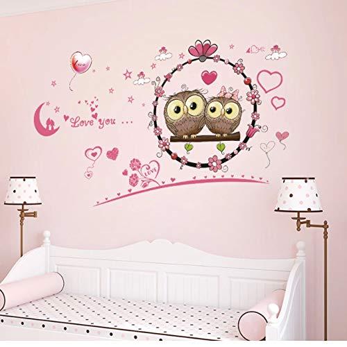 Pareja de dibujos animados búho pegatina de pared sala de estar dormitorio decoración de pared pegatina pegatinas de pared para habitaciones de niños