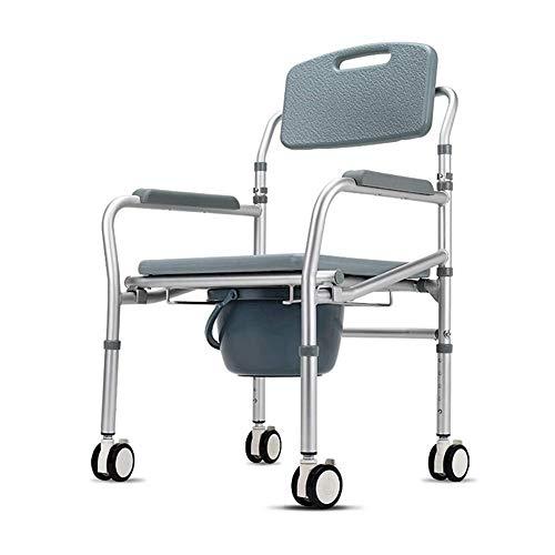 JJZXPJ nachtkastje commode, wc stoel met vier ronden verstelbare hoogte vouwen draagbare extra breed met emmer splash guard wc kruk voor oude mensen zwanger vrouwen gemakkelijk transfers bad stoel