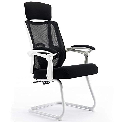 JIEER-C Slaapkamerstoel, bureaustoel, net, kantelbaar, bureaustoel, bureaustoel, werkstoel, hoofdsteun, basis van staal, gewicht 130 kg (kleur: zwart) Regulable