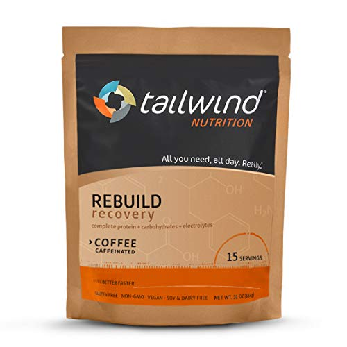 Tailwind Nutrition Rebuild Recovery Coffee Drink Mix 15 Serving Pouch - Complete Protein, Electrolytes and Carbohydrates - Vegan, Gluten-Free, No Soy or Dairy