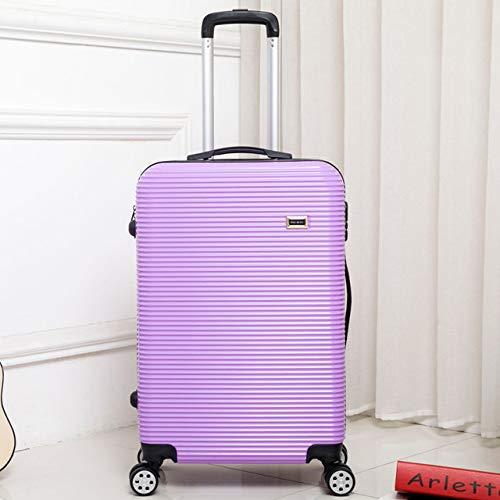 KQATCJ Ligero 20'24'28 'Equipaje con Cremallera, PC Shell Metal Drawbar Bolsa de Equipaje Trolley Case Viajes Maleta Ruedas para Salir por Negocios (Color : Brown, Luggage Size : 28')