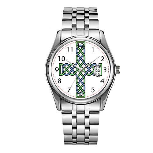 Reloj de lujo para hombre, resistente al agua, 30 m, reloj de fecha, reloj deportivo masculino, cuarzo casual, reloj de pulsera de Navidad, cruz celta (verde y azul) relojes de pulsera