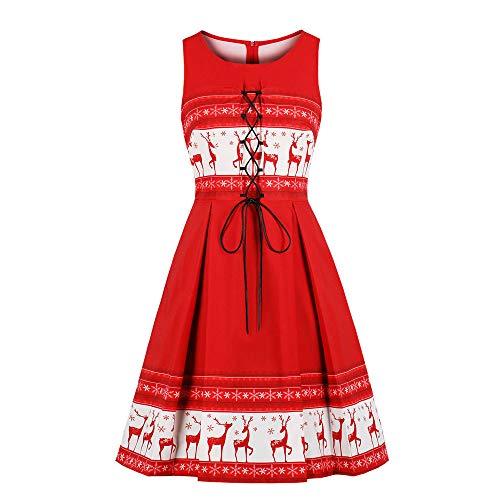 BOLANQ Damen ärmelloses Kleid Weihnachten Abendkleid Elch Print Red Retro Weihnachtsfeier Midi Kleid Club Karneval Cocktailkleid
