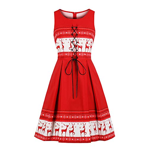 Zylione Damen Rockabilly Kleid Elegante Weihnachten Kleid Christmas Rentiermuster Club Festival Karneval Kleid Ärmellose Abend Party Prom Swing Dress