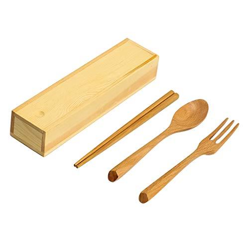 MERIGLARE New 3 Piece Wooden Chopsticks Spoon Fork Set for Picnic