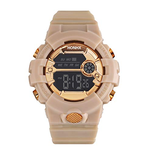 Outdoor Sports Wristwatch for Men Teens, 30 Bar Waterproof Simple Solid Color Silicone Belt LCD Digital Stopwatch Date Wrist Watch Wonderful Gifts to Husband (Coffee)