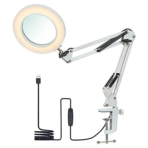 Lámpara de aumento LED 8X con luz,Tomshine lámparas de lupa con abrazadera iluminadas alimentada por USB de 3 colores Bright regulables,brazo giratorio ajustable para coser--Blanco