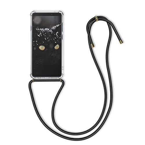 kwmobile Hülle kompatibel mit Samsung Galaxy A9 (2018) - mit Kordel zum Umhängen - Silikon Handy Schutzhülle Transparent Schwarz