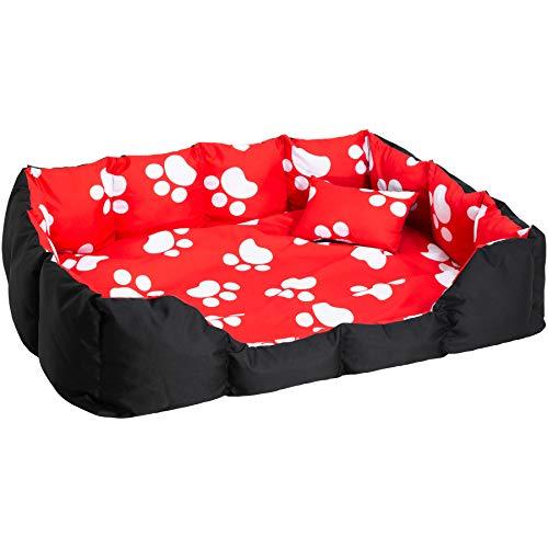 TecTake 800047 XXL Hundebett Hundekissen inkl. Decke und Kissen, dick gepolsterte Seitenwände - Diverse Farben - (Schwarz/Rot mit Tatzen | Nr. 400744)