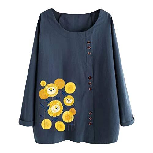 TEFIIR Damen Mode 2019 Einfach Gedruckt Pullover mit Knopf Baumwolle/Leinen Sweatshirt Hemd Größe T-Shirt Langarm Freizeithemd Lose Casual Tops