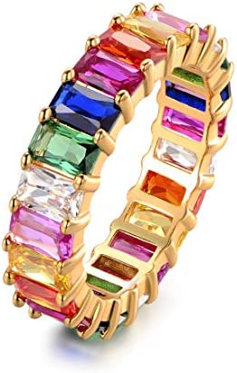 Eternity Rainbow Ring Wedding Band for Women 18K Gold Plated Emerald Cut Rainbow Multi Color product image