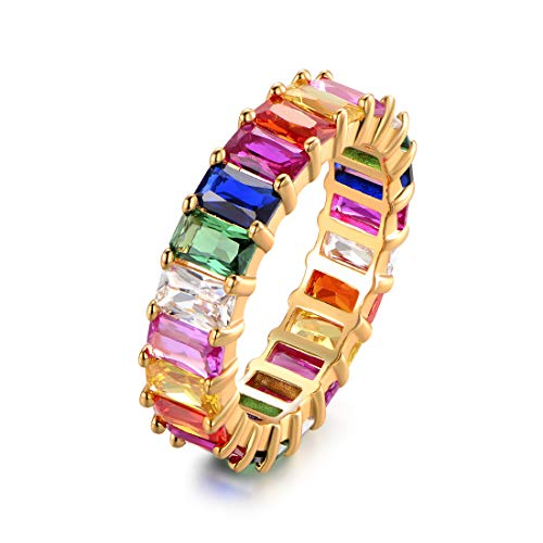 Eternity Rainbow Ring Wedding Band for Women | 18K Gold Plated Emerald-Cut Rainbow Multi Color Created-Gemstone Eternity Ring (Gold, 7)