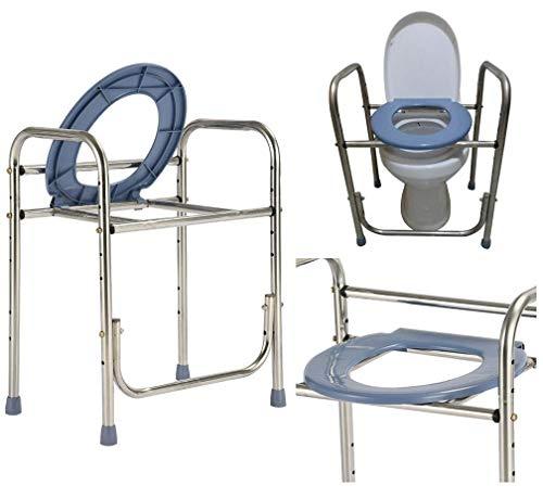 WUYUESUN Inodoro portátil, marco de inodoro ajustable de altura alrededor/alfombrilla antideslizante, soporte de baño para personas mayores mayores de la silla de inodoro pesada de la mesita de noche