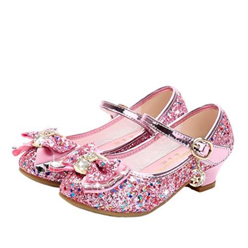 Holibanna Scarpe da Ballo per Bambini Tacchi a Gattino con Tomaia in Paillettes Glitter Danze di Zucca con Fiocco per Bambina Rosa 23 2 cm