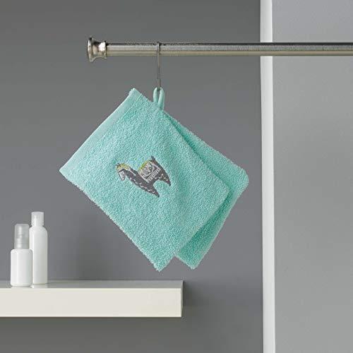 douceur d'intérieur 2 gants de toilette 16x21 cm eponge brodee lamalima vert d'eau