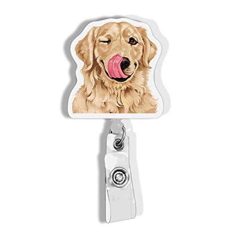 WIRESTER Retractable Badge Reel ID Holder with Alligator Clip for Office Worker, Medical Staffs, Student - Cute Winking Golden Retriever Dog