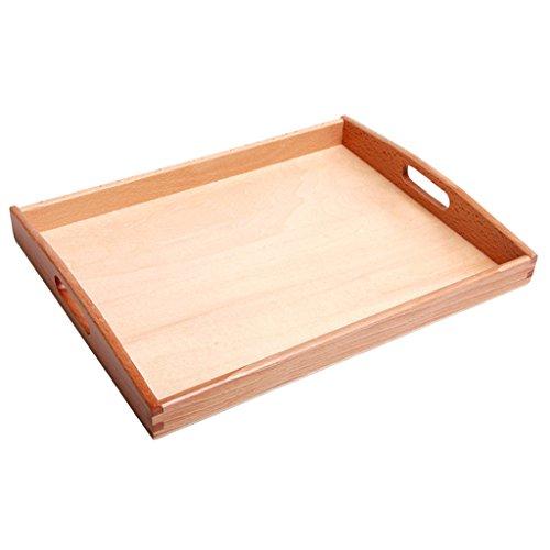 Baoblaze Montessori Rechthoekig Dienblad Houten Dienblad met Handvat Kinderspeelgoed