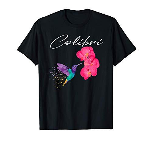 ハミングバード ネイチャー ビューティフル マジカルコリブリ 花付き Tシャツ