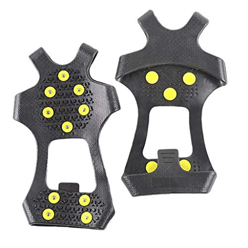 Baoblaze 1 Paire Crampons Antidérapants Chaussures Glace Traction Crampons 10 Dents Acier - 4, XL