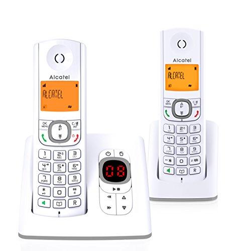 Alcatel F530 Voice Duo - Téléphone sans fil DECT aux coloris contemporains, Répondeur intégré, Mains libres, Ecran rétroéclairé, Sonneries VIP, 10 mélodies d'appel - Blanc/Gris