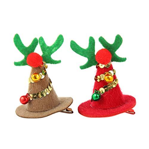 Beaupretty 2 Piezas de Navidad Horquilla pequeña Cornamenta pompón Sombrero Pinzas para el Cabello Brillo Santa...