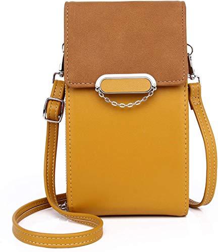 GOODFORALL Mini Crossbody Bag,Bolso Movil Mujer Monedero Ajustable Pequeño Bolso Bandolera Monedero con Ranuras para Tarjeta y Cremallera Mujer Billetera (Amarillo-A)