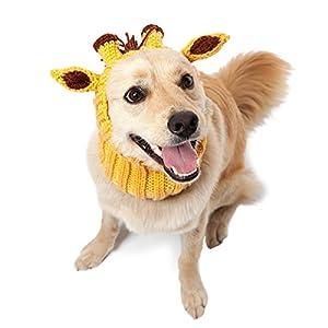 Zoo Snoods Giraffe Dog Costume – Neck and Ear Warmer Hood for Pets (Medium)
