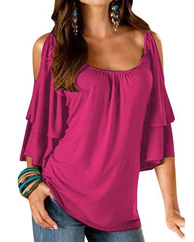 YOINS Camicia Donna Estivo Maglietta Manica Corta Bluse Spalle Scoperte Maniche a Pipistrello Top Casuale Rotondo T-Shirt A-Rosa S