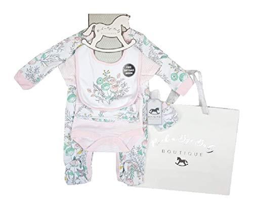 Rock A Bye Baby Boutique Tenue en Coton pour bébé Fille avec Sac Cadeau Motif Floral - Multicolore - 2 Mois
