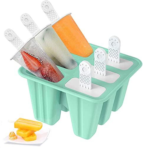Foho Stampi ghiaccioli, Stampi per Gelati Realizzati in plastica di Alta qualità priva di BPA e Approvata dalla FDA, Ideale per la Preparazione di ghiaccioli, Gelati, sorbetti (Verde, 6 Cells)
