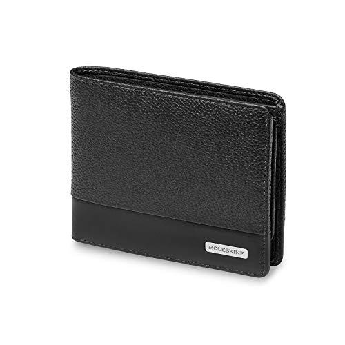 Moleskine - Billetera clásica, 100% Piel con Bolsillo para Monedas y 4 Solapas para Tarjetas de crédito y Billetes, tamaño 13 x 3.6 x 11 cm, Negro