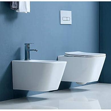 Foto di Sanitari bagno filomuro SOSPESI Bidet e Vaso WC in ceramica con sedile coprivaso softclose CUBE